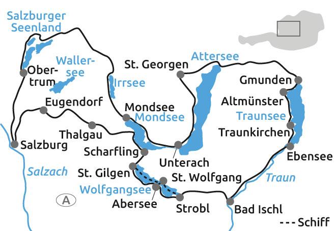 Salzkammergut Karte.Radtour Osterreich